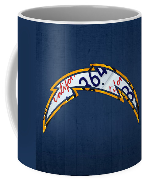 San Diego Coffee Mug featuring the mixed media San Diego Chargers Football Team Retro Logo California License Plate Art by Design Turnpike