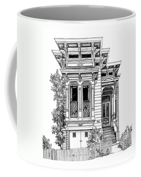 Pen And Ink Coffee Mug featuring the drawing San Fracisco Victorian2 by Mary Palmer