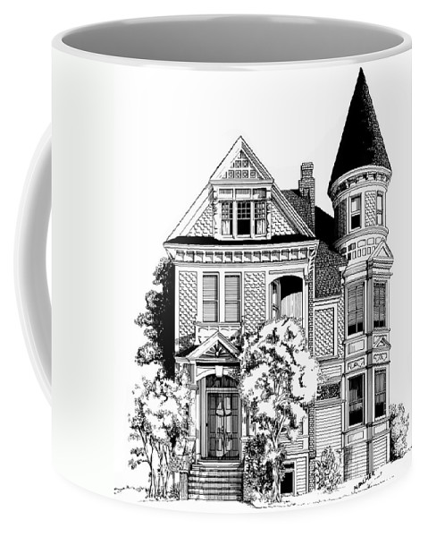 Pen And Ink Coffee Mug featuring the drawing San Francisco Victorian by Mary Palmer