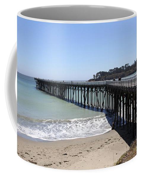San Simeon Pier Coffee Mug featuring the photograph San Simeon Pier by Christiane Schulze Art And Photography