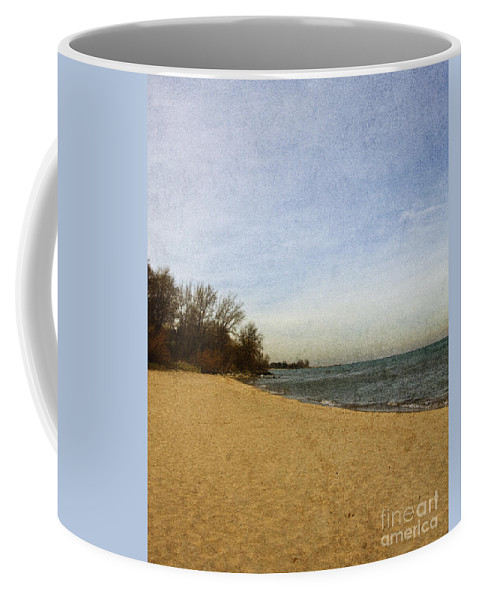 Alone; Beach; Sand; Grasses; Trees; Calm; Serene; Water; Sea; Ocean; Lake; Horizon; Coast; Empty; Sky; Quiet; Outside; Outdoors; Paradise; Shore Coffee Mug featuring the photograph Sand And Water by Margie Hurwich