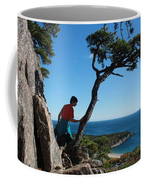 Acadia Coffee Mug featuring the photograph Sand Beach From The Beehive by John Meader