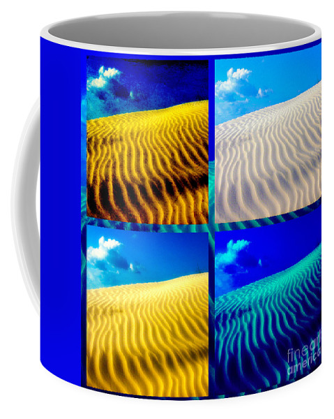 Sand Coffee Mug featuring the photograph Sand Dunes Collage by Susanne Van Hulst
