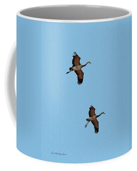 Sand Hill Cranes On Approach Coffee Mug featuring the photograph Sand Hill Cranes On Approach by Tom Janca