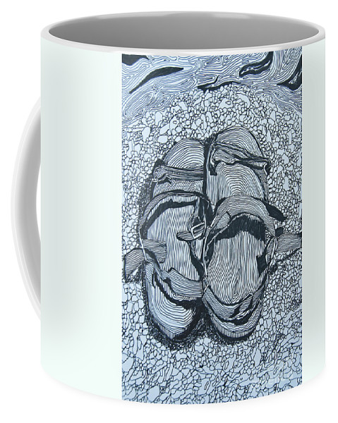 Doodle Coffee Mug featuring the painting Sandals - Doodle by James Lavott