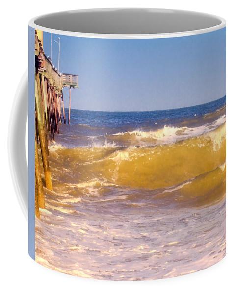 Beach Coffee Mug featuring the photograph Sandbridge Pier by Pete Federico