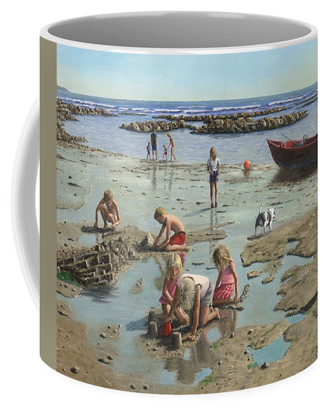 Landscape Coffee Mug featuring the painting Sandcastles by Richard Harpum