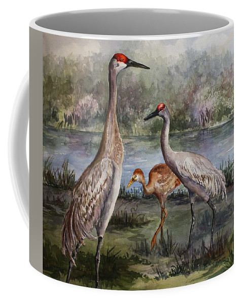 Sandhill Cranes Coffee Mug featuring the painting Sandhill Cranes On Alert by Roxanne Tobaison