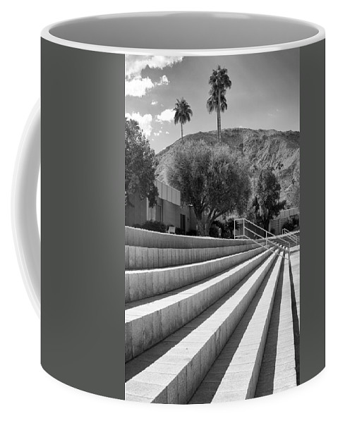 Sandpiper Coffee Mug featuring the photograph Sandpiper Stairs Bw Palm Desert by William Dey