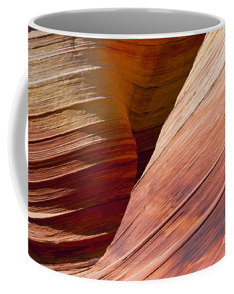The Wave Coyote Buttes Arizona Grand Staircase Esclante National Monument Monuments Paria Canyon Vermilion Cliffs Wilderness Sandstone Landscape Landscapes Landmark Landmarks Ridge Ridges  Coffee Mug featuring the photograph Sandstone Wave Formations by Bob Phillips