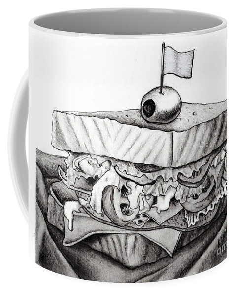 Drawing Coffee Mug featuring the drawing Sandwich by Nancy Mueller