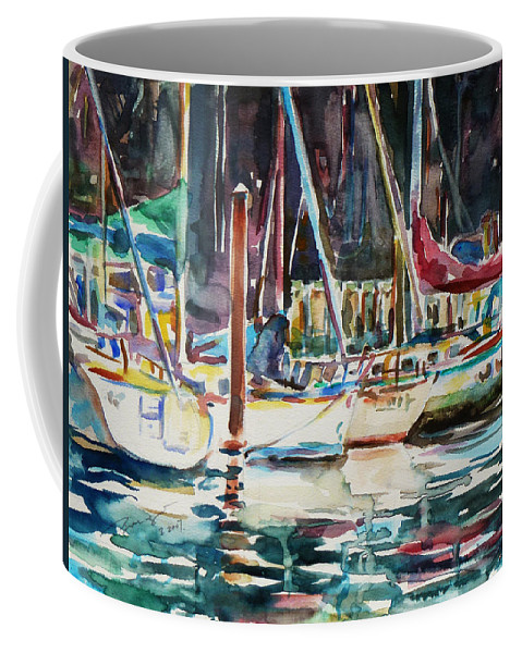 Watercolour Coffee Mug featuring the painting Santa Cruz Dock by Xueling Zou