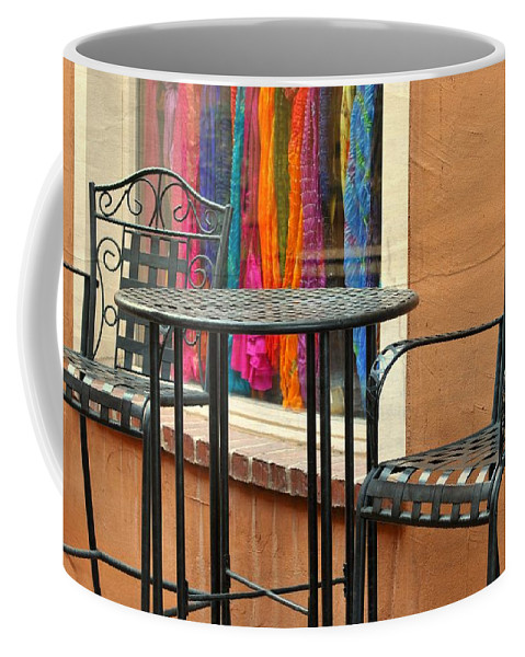 Colorful Shawls Coffee Mug featuring the photograph Santa Fe Cafe And Boutique by Diana Angstadt