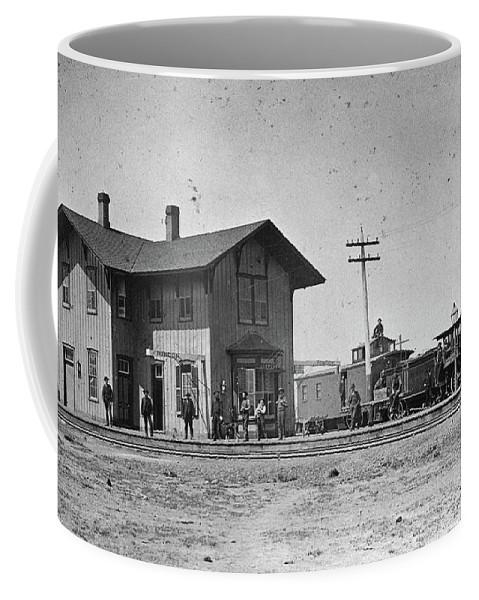 1883 Coffee Mug featuring the photograph Santa Fe Railway, 1883 by Granger
