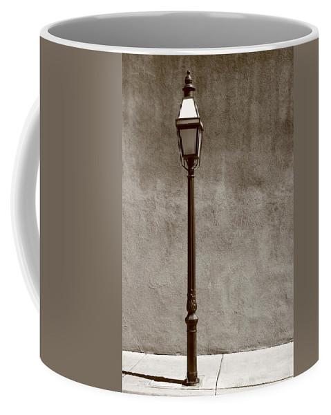 Adobe Coffee Mug featuring the photograph Santa Fe - Streetlight by Frank Romeo