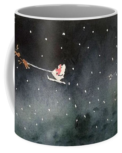 Christmas Coffee Mug featuring the painting Santa Is Coming by Yoshiko Mishina