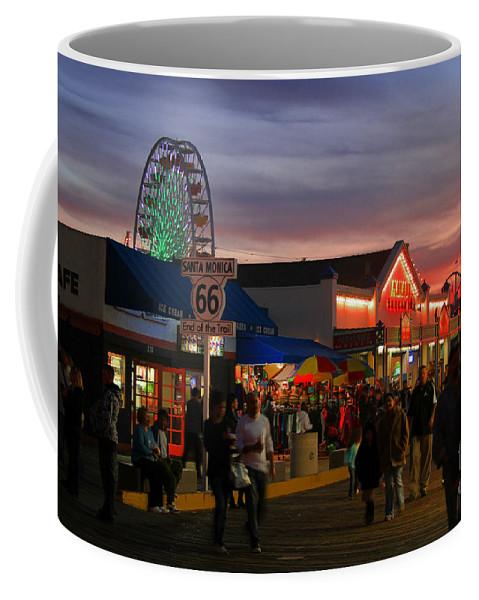 Santa Monica Pier Coffee Mug featuring the photograph Santa Monica Pier I By Diana Sainz by Diana Sainz