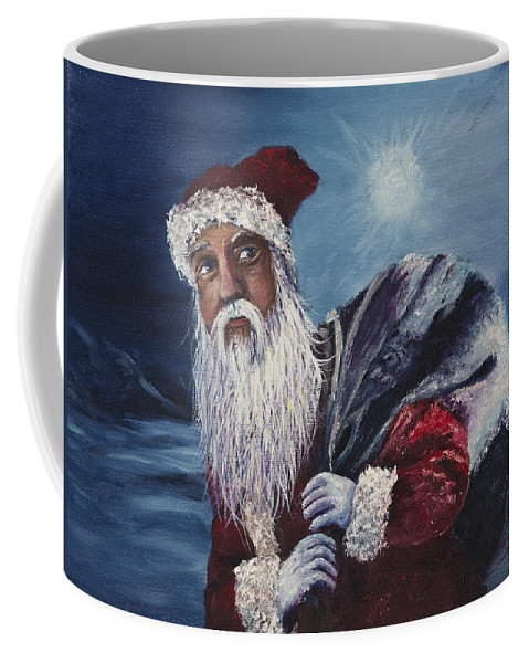 Christmas Coffee Mug featuring the painting Santa With His Pack by Darice Machel McGuire