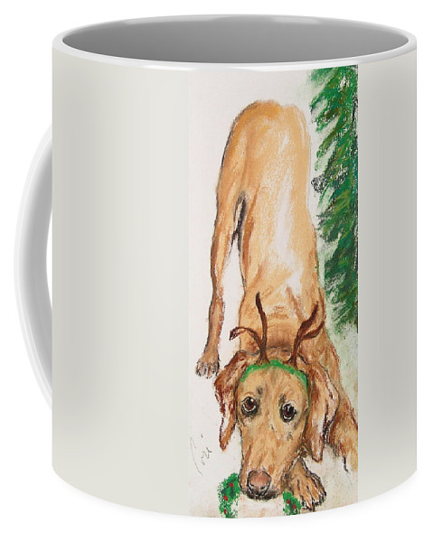 Labrador Coffee Mug featuring the drawing Santa's Helper by Cori Solomon
