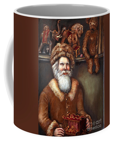 Holiday Art Coffee Mug featuring the painting Santas Special Toys by Portraits By NC