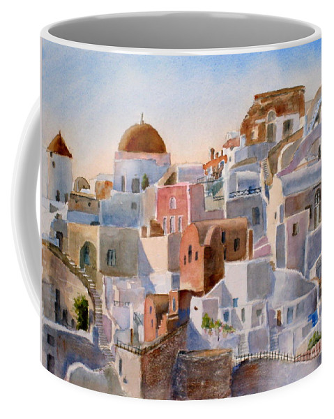 Building Coffee Mug featuring the painting Santorini by Mohamed Hirji