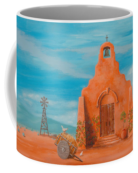Adobe Coffee Mug featuring the painting Santuario by Jerry McElroy