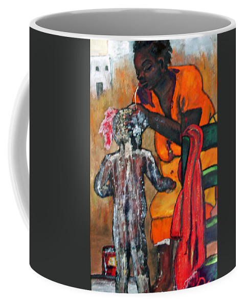 Mom Bathing Boy Coffee Mug featuring the painting Saturday Night Bath by Peggy Blood