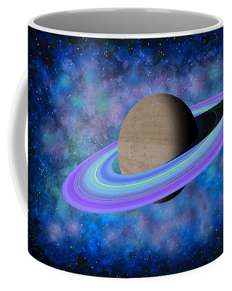 Saturn Planet Coffee Mug featuring the painting Saturn Journey by Georgeta Blanaru