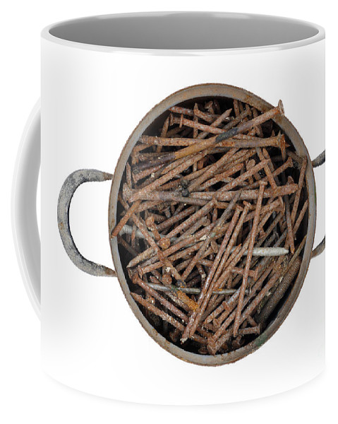 Saucepan Coffee Mug featuring the photograph Strong Bouillon - Saucepan Full Of Rusty Nails by Michal Boubin