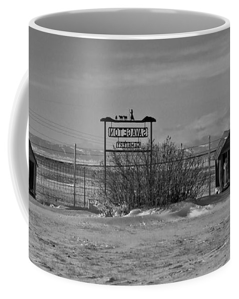 Black And White Coffee Mug featuring the photograph Savageton Cemetery Wyoming by Cathy Anderson