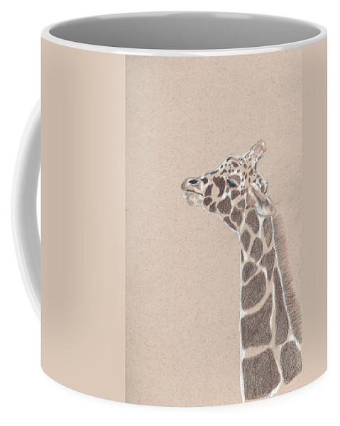 Giraffe Coffee Mug featuring the drawing Savannah by Crystal Hubbard