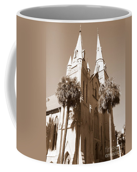 Savannah Coffee Mug featuring the photograph Savannah Sepia - Methodist Church by Carol Groenen