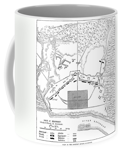1779 Coffee Mug featuring the photograph Savannah Siege Map, 1779 by Granger