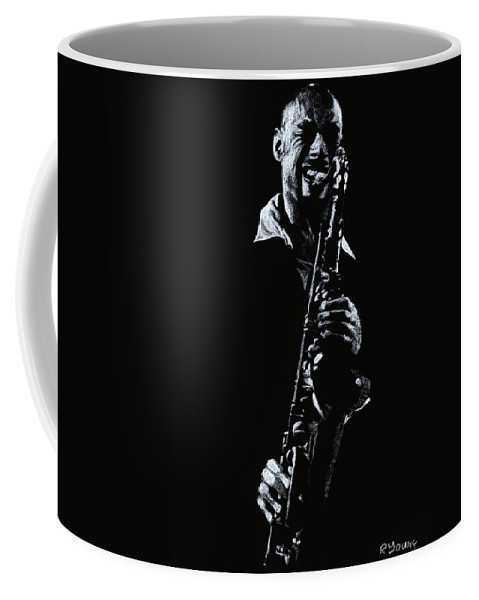 Musician Coffee Mug featuring the drawing Sax Player by Richard Young