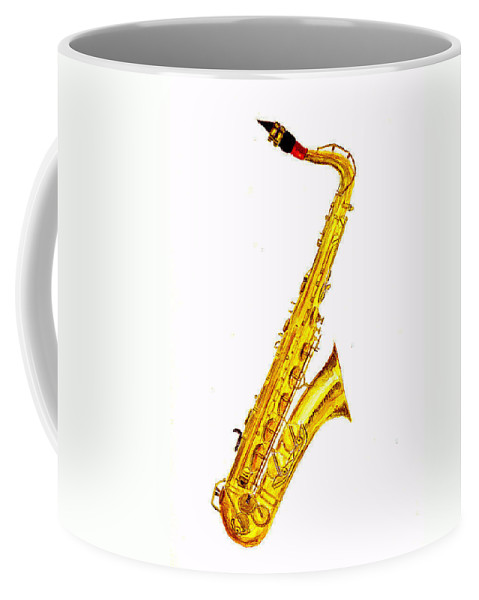 Saxophone Coffee Mug featuring the painting Saxophone by Michael Vigliotti