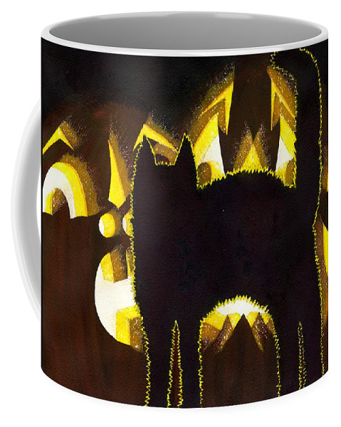 Cat Coffee Mug featuring the painting Scaredy Cat by Catherine G McElroy