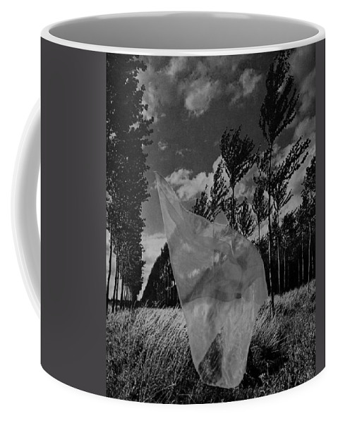 Scarf Coffee Mug featuring the photograph Scarf In The Winds In Black And White by Rob Hans