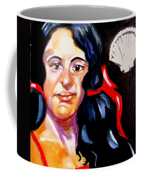 Portraits Coffee Mug featuring the painting Scarlet Ribbons by Rusty Gladdish