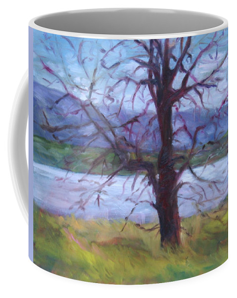 Water Coffee Mug featuring the painting Scenic Landscape Painting Through Tree - Spring Has Sprung - Color Fields - Original Fine Art by Quin Sweetman