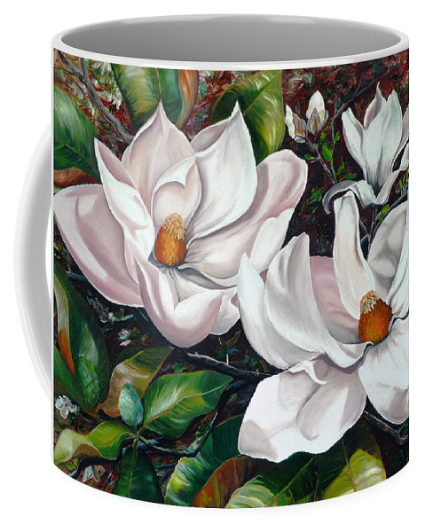 Magnolia Painting Flower Painting Botanical Painting Floral Painting Botanical Bloom Magnolia Flower White Flower Greeting Card Painting Coffee Mug featuring the painting Scent Of The South. by Karin Dawn Kelshall- Best