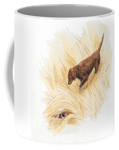 Mixed Media Coffee Mug featuring the drawing Scenting Pheasant by Timothy Livingston