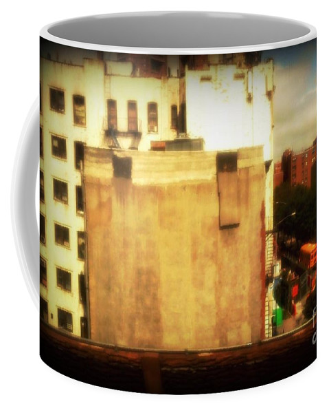 New York Coffee Mug featuring the photograph School Bus With White Building by Miriam Danar