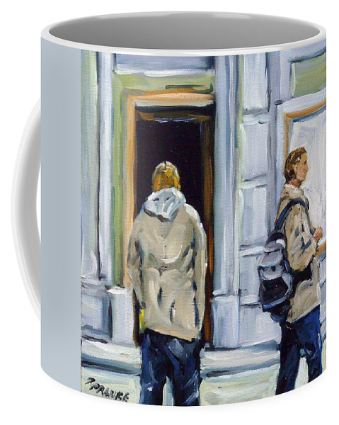 Urban Coffee Mug featuring the painting School Days by Richard T Pranke