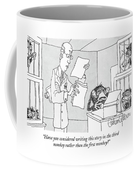 Science Coffee Mug featuring the drawing Scientist Talking To Monkey At Typewriter by Gahan Wilson