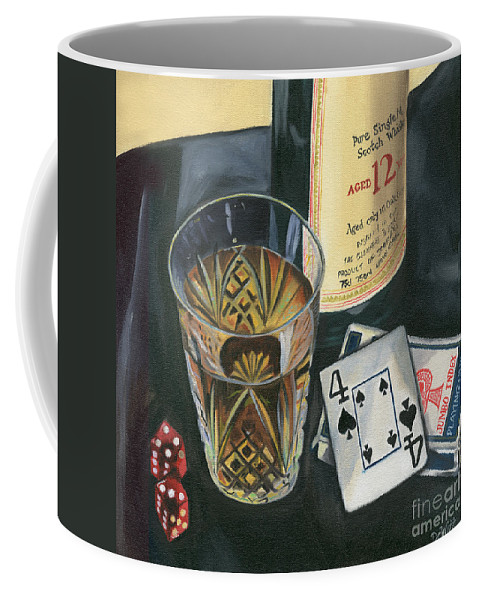 Scotch Coffee Mug featuring the painting Scotch And Cigars 2 by Debbie DeWitt