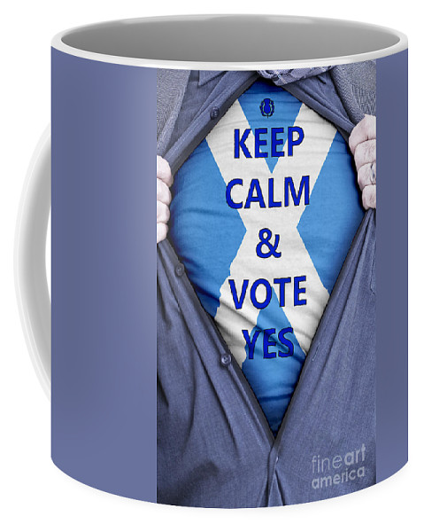 Scotland Coffee Mug featuring the photograph Scottish Businessman Votes Yes by Antony McAulay