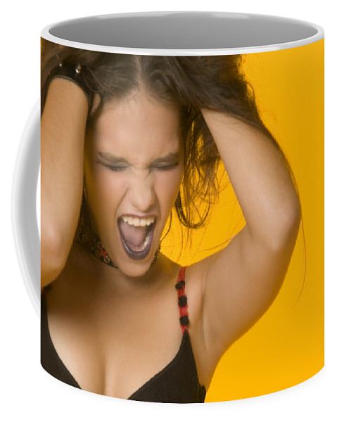 Caucasian Teen Girl Holding Head And Screaming Coffee Mug featuring the photograph Screaming Girl by Bob Pardue
