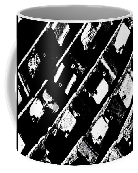 Urban Coffee Mug featuring the photograph Screwed Metal Tab Abstract by Chris Berry
