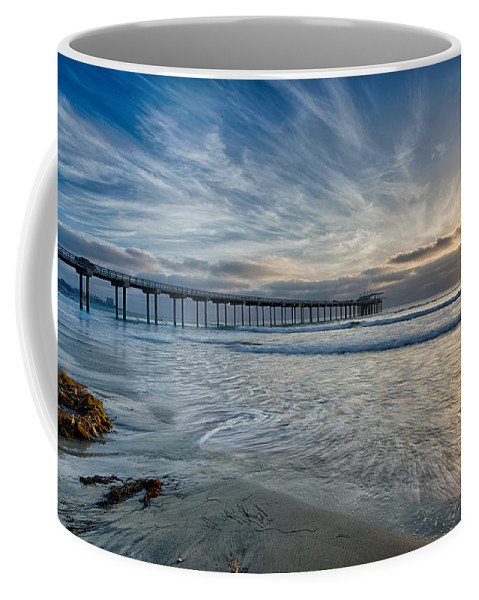 Architecture Coffee Mug featuring the photograph Scripps Pier Sky And Motion by Peter Tellone