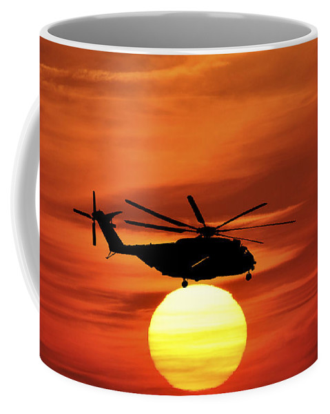 Military Helicopter Coffee Mug featuring the photograph Sea Dragon Sunset by Al Powell Photography USA